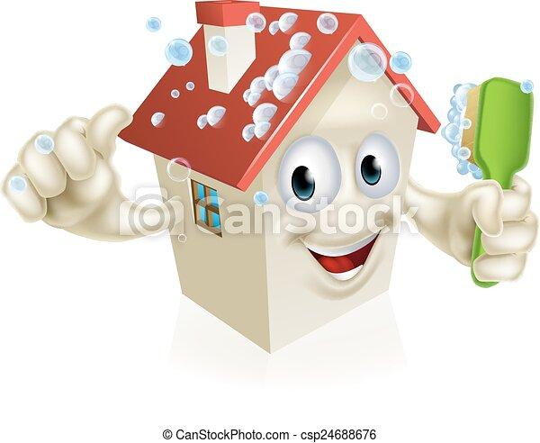 vektoren illustration von haus putzen maskottchen ein abbildung von a csp24688676. Black Bedroom Furniture Sets. Home Design Ideas