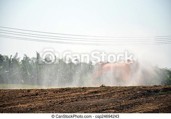 Water Truck spray to ground