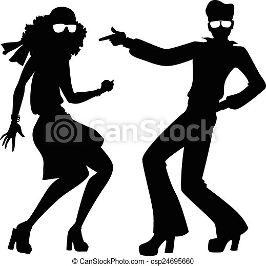 Clip Art Vector of Disco dancers silhouette - Black isolated ...