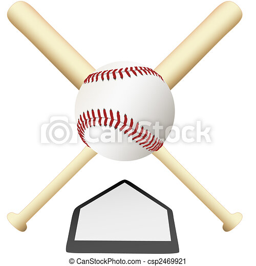 Baseball Emblem crossed bats over home plate - csp2469921