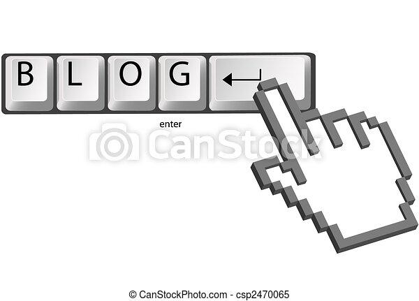Hand pixel cursor clicks BLOG on computer keys - csp2470065