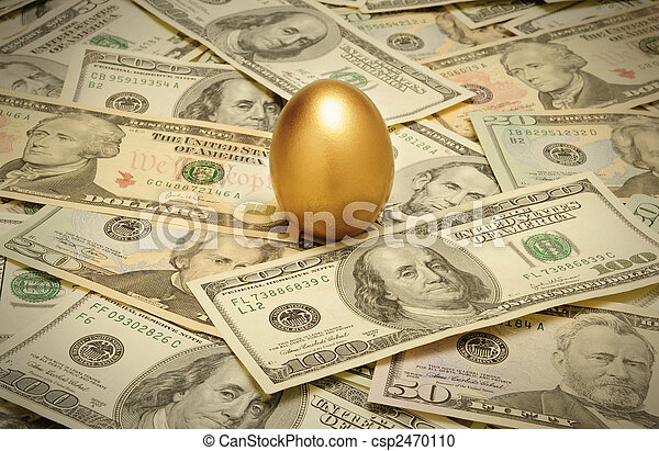 A gold nest egg sitting on a layer of cash of various American banknote denominations - csp2470110