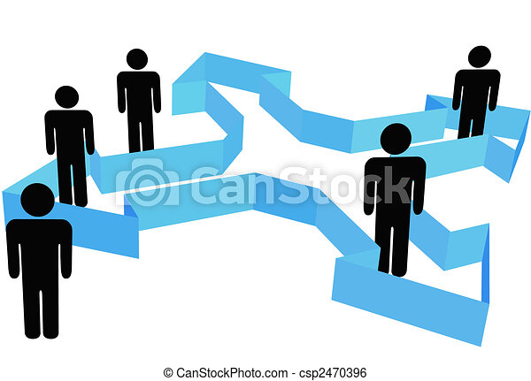Symbol People in Organization Arrows Point In New Directions - csp2470396