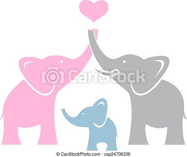 Elephant family. Symbol or logo  - csp24706336