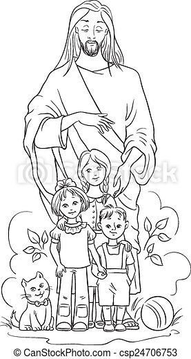 Football coloring pages black white christianity bible ~ Clipart Vector of Jesus with children. Colouring page ...