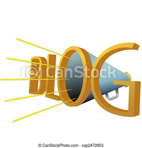 Big BLOG 3D Megaphone for high powered blogging - csp2470953