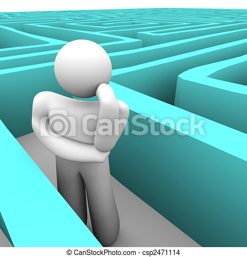 Person in Blue Labyrinth Thinking of Way Out - csp2471114