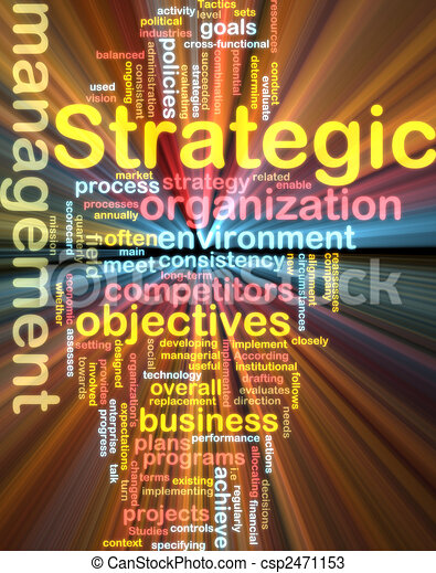 Strategic management wordcloud glowing - csp2471153