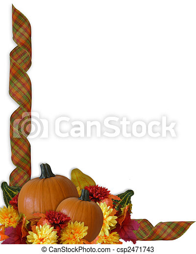 Thanksgiving Border Autumn Fall ribbons - csp2471743