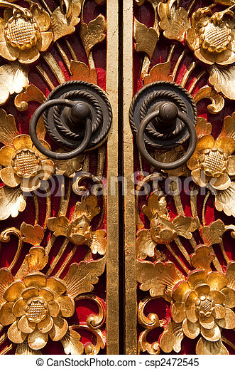 Wood Carving Door - csp2472545