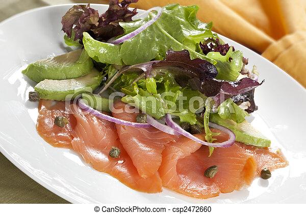 Smoked Salmon and Avocado Salad - csp2472660