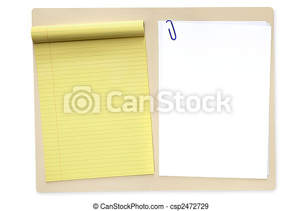 File Folder with Notepad and Paper - csp2472729