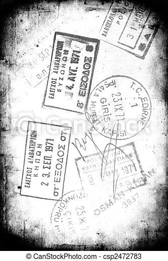 Grunge Visa Stamps - csp2472783