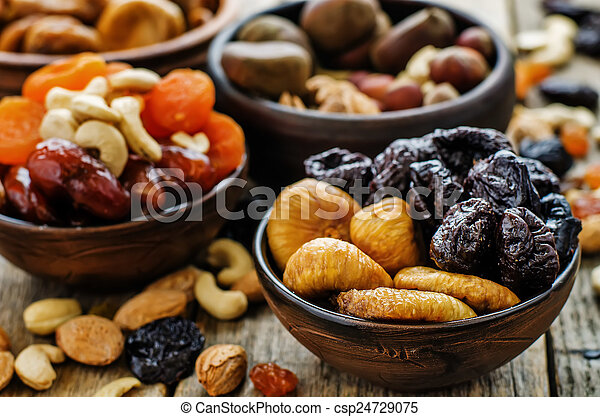 mix of dried fruits and nuts - csp24729075