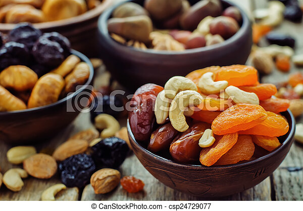 mix of dried fruits and nuts - csp24729077