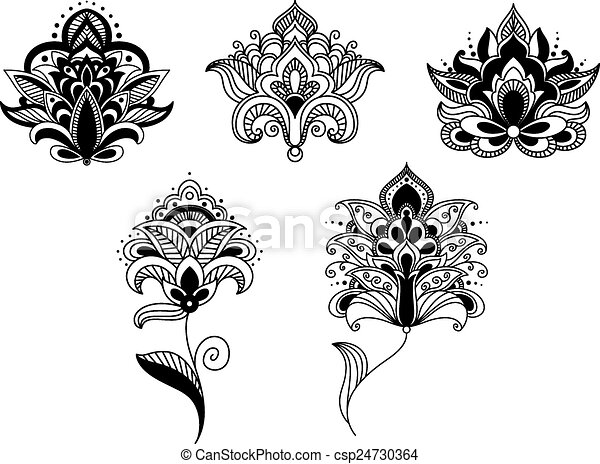 Lace Flowers Drawings Black Lace Paisley Flowers in
