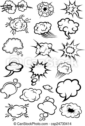 Comics explosion clouds and speech bubbles - csp24730414