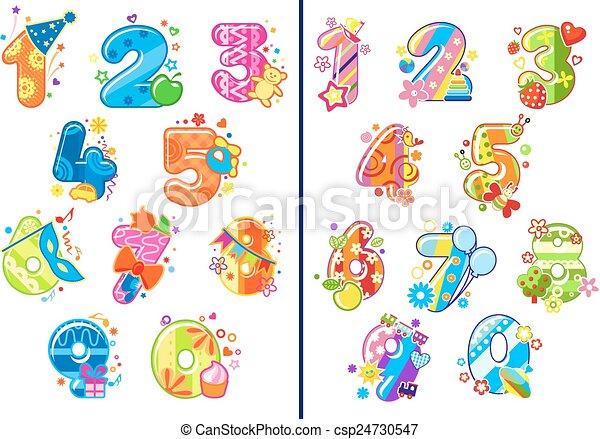 Vecteur eps de chiffres pu ril dessin anim nombres - Colore per numero stampabili ...