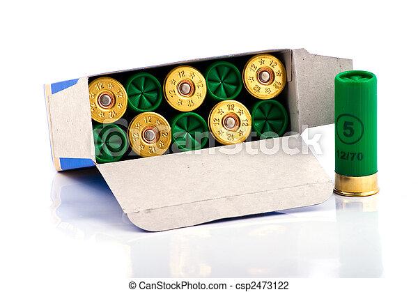 caixa,  12, caça, espingarda, calibre, cartuchos - csp2473122