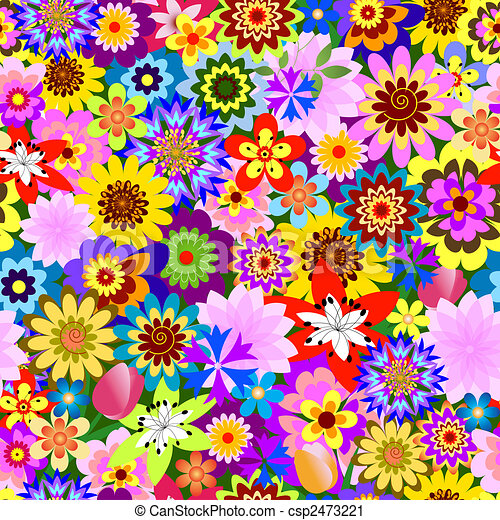 Abstract seamless  floral pattern (vector) - csp2473221