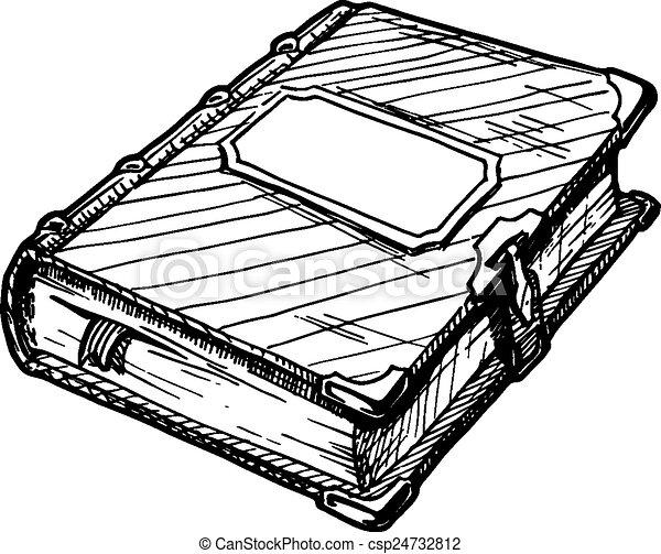 Bücherreihe clipart  Vektor Clipart von buch, altes - Hand, gezeichnet, vektor ...