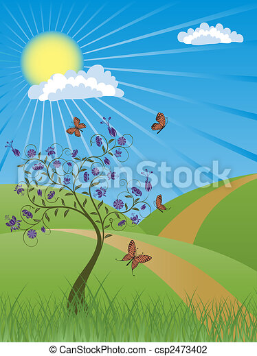 Background with summer landscape - csp2473402