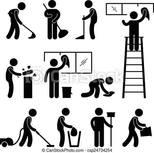 Clipart Vector of Clean Wash Vacuum Cleaner Worker - A set ...