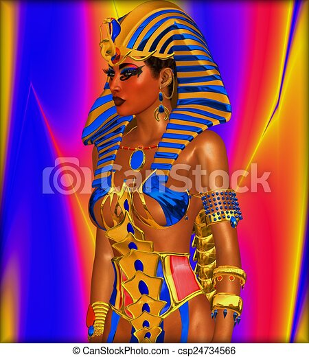Clip Art of Pharaoh and Cleopatra - illustration of Pharaoh and ...