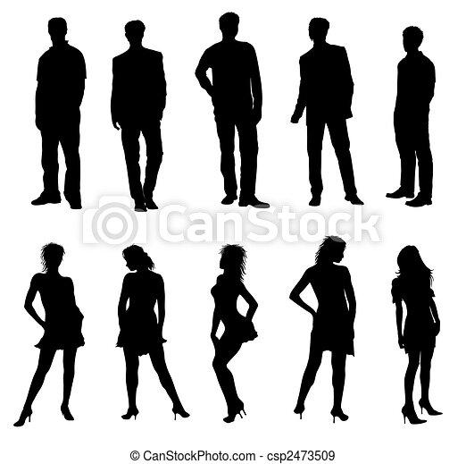Adultos, silhuetas, pretas, branca, jovem - csp2473509