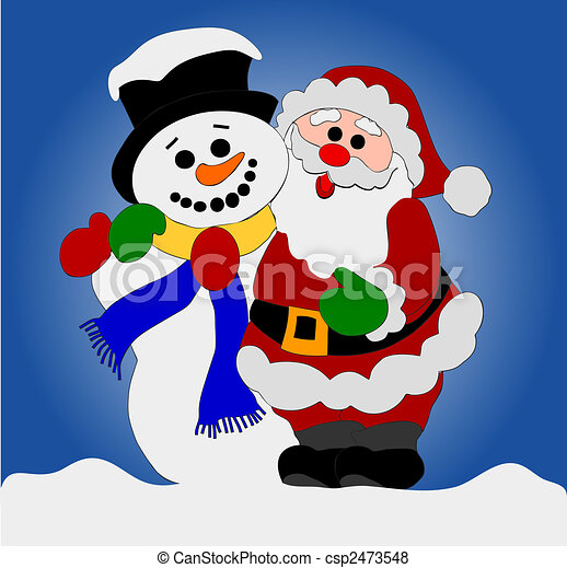 Stock Illustration of Santa Clause and Snowman csp2473548 - Search EPS ...