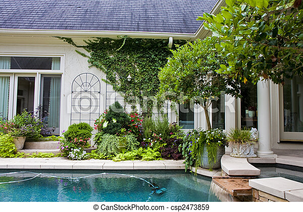 Residential Pool and Fountain - csp2473859