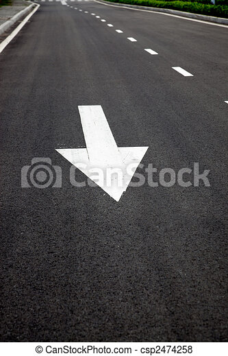 road signs arrows on asphalted surface - csp2474258