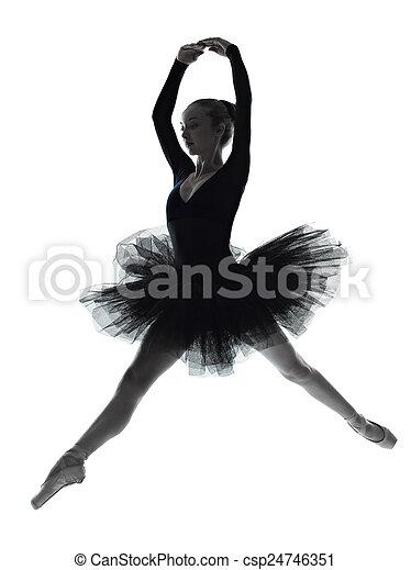 young woman ballerina ballet dancer dancing silhouette - csp24746351