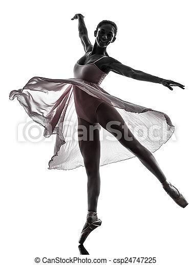 woman  ballerina ballet dancer dancing silhouette - csp24747225