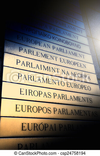 Nameplate in all EU languages in front of the European Parliamen - csp24758194