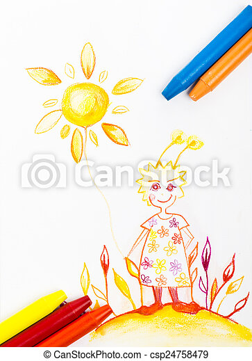 Kiddie style crayon drawing postcard with fresh colours