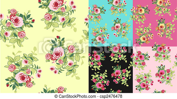 seamless fancy flower pattern - csp2476478