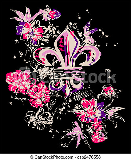 fancy royal symbol with flower decoration - csp2476558