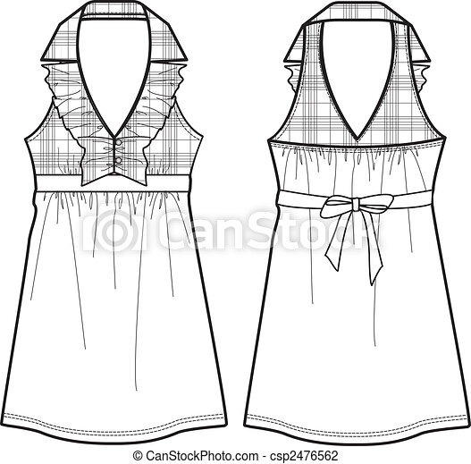 Vector Illustration of lady checked one-piece dress ... - photo #46