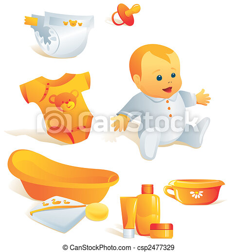 Icon set - baby hygiene. Illustration - csp2477329