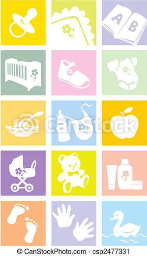 Icon set - baby goods, items. Illustration - csp2477331