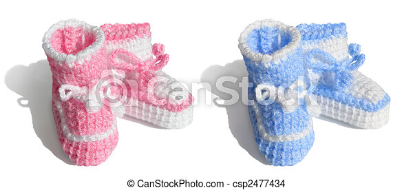 New baby, girl or boy. Tiny bootees - csp2477434