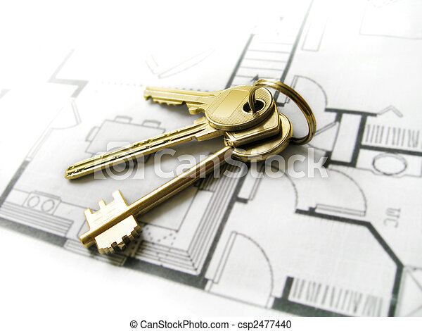 Gold keys for the new dream home  - csp2477440