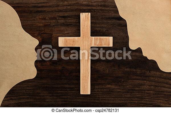 Stock de fotos de corte, cristiano, rogar, pareja, cruz, papel, de ...