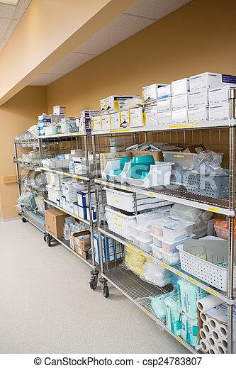 Hospital Supplies Arranged On Trollies