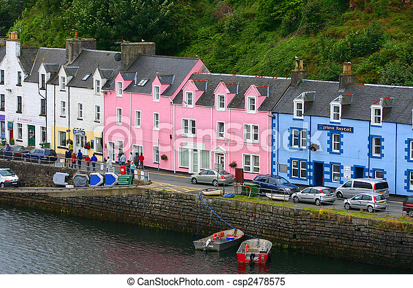 stock images of portree harbour isle of skye scotland coloured houses in csp2478575. Black Bedroom Furniture Sets. Home Design Ideas