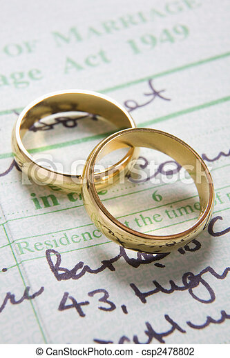 Gold Wedding Rings On Marriage Certificate - csp2478802