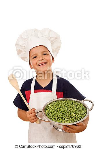 Happy chef with lots of fresh green peas - csp2478962
