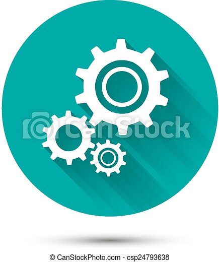 Vectors of Settings icon on green background with long ...