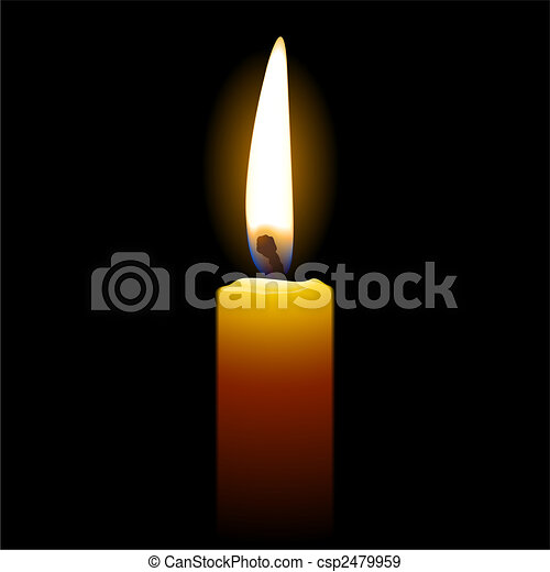 Candle on black background - csp2479959
